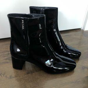 NEVER WORN Prada Black Patent Leather Boots